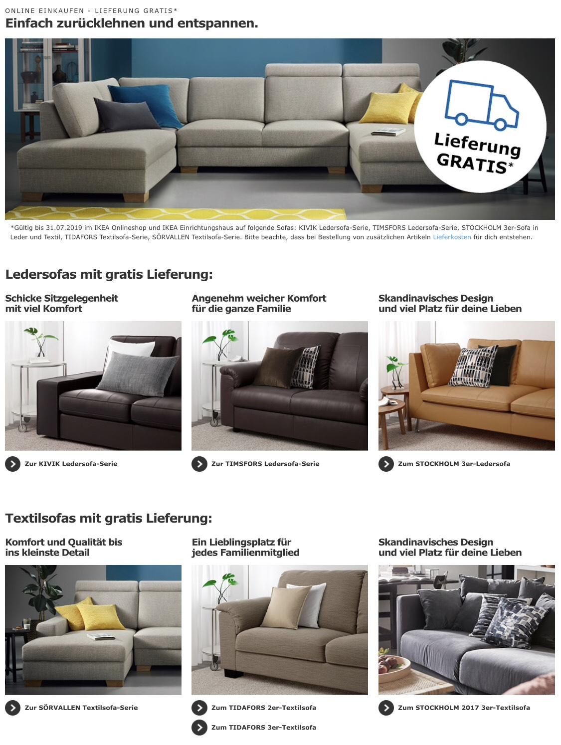 ikea kostenfreie sofa lieferung bei einigen modellen. Black Bedroom Furniture Sets. Home Design Ideas