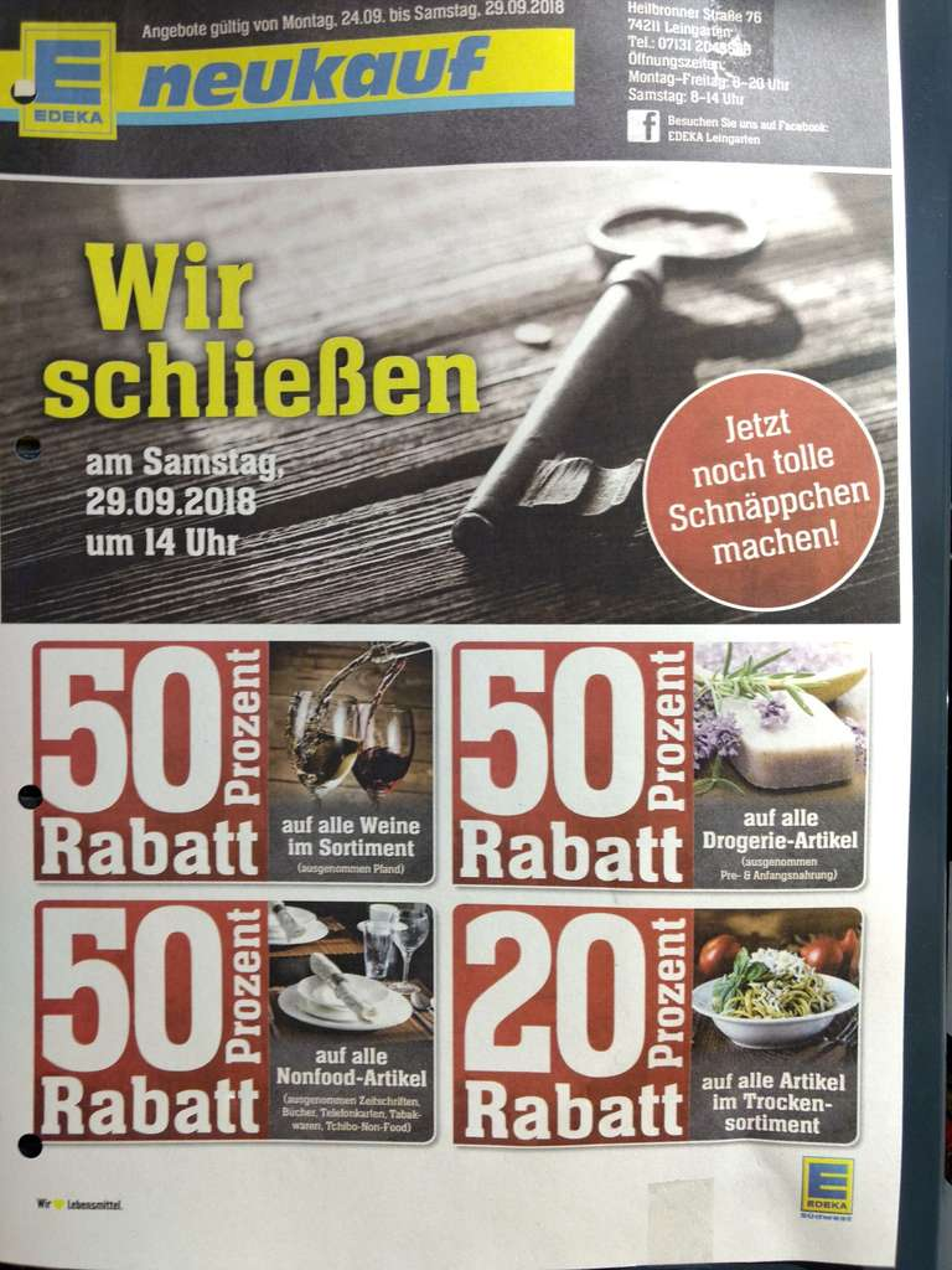 Lokal Leingarten Edeka 50 Auf Weine Mind 20 Auf Fast Alles