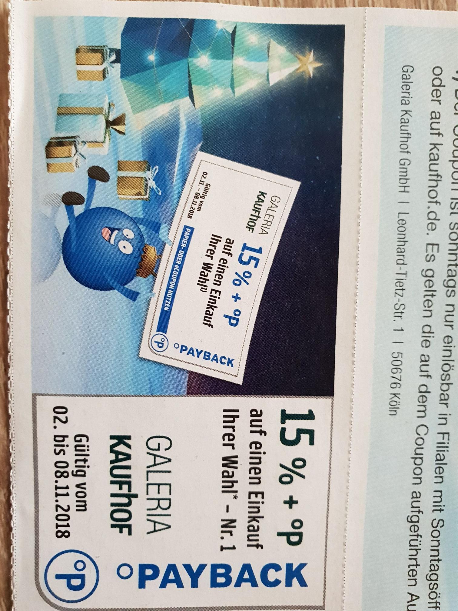 a21ee656abb5e 15 % Payback Coupon Galeria Kaufhof - mydealz.de
