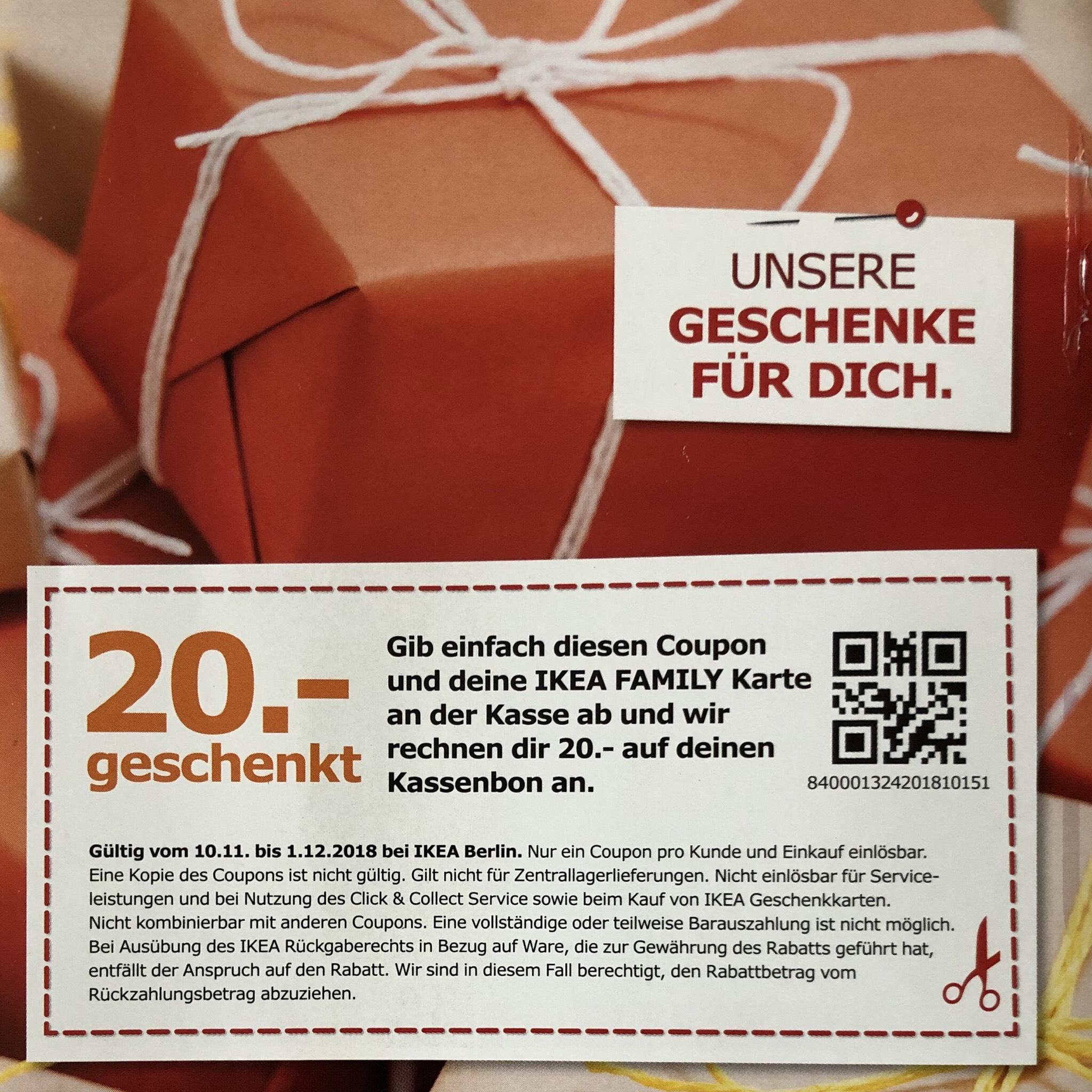lokal ikea family berlin 20 gutschein geschenkt einfach ausdrucken ohne mbw. Black Bedroom Furniture Sets. Home Design Ideas