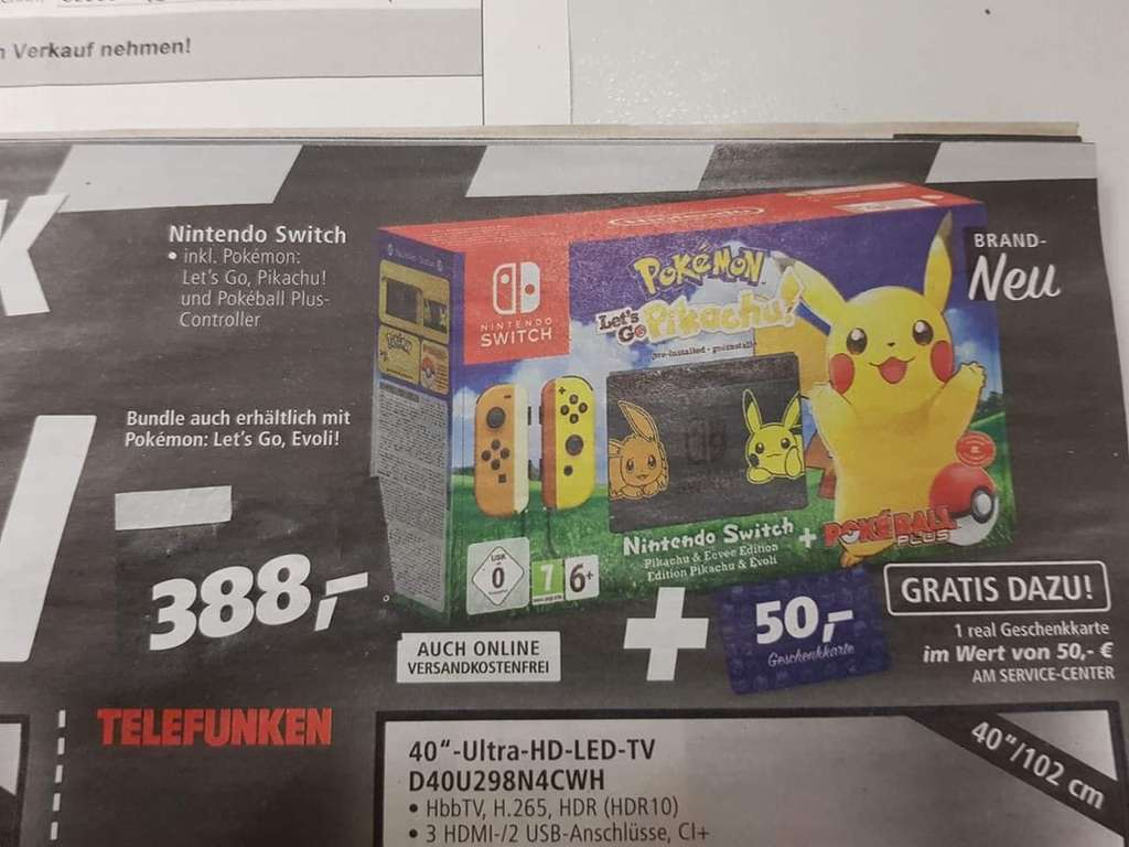 pokemon lets go switch bundle 50 euro real gutschein heute nur online. Black Bedroom Furniture Sets. Home Design Ideas