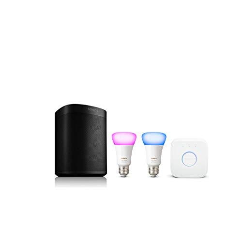 philips hue white color ambiance e27 led starter set inkl sonos one in wei o schwarz. Black Bedroom Furniture Sets. Home Design Ideas