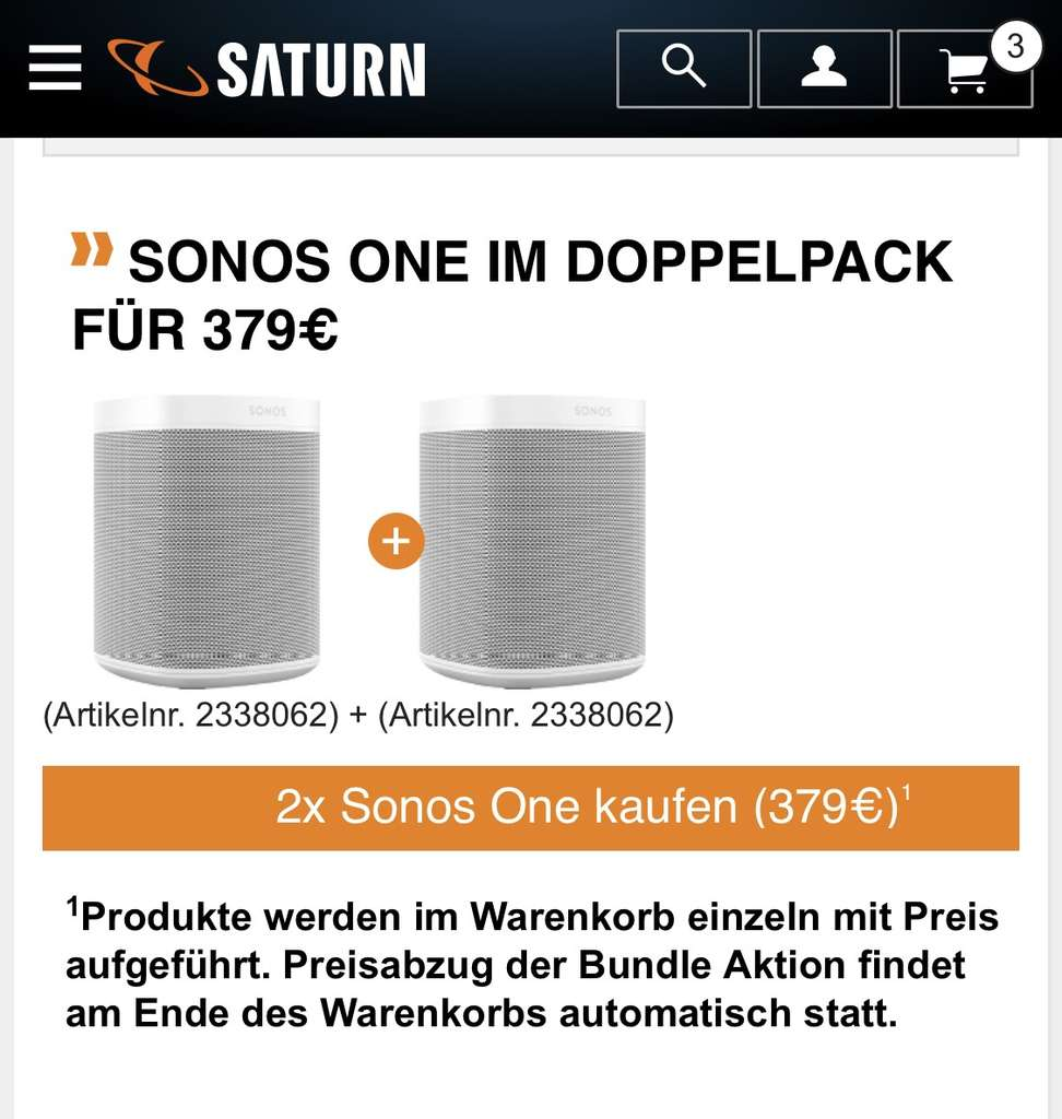 sonos one stereo paar lautsprecher bei saturn media markt. Black Bedroom Furniture Sets. Home Design Ideas
