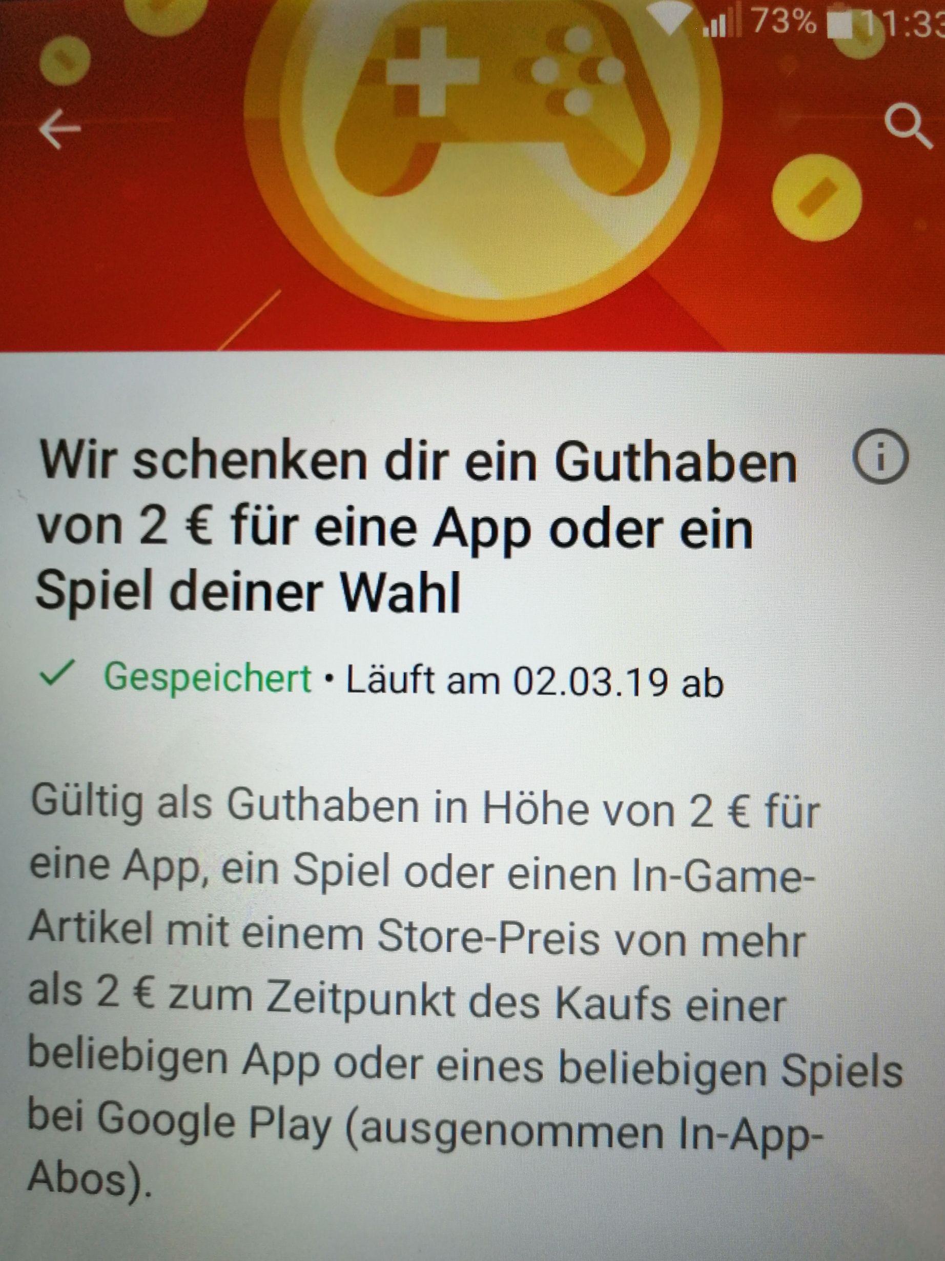 Google Playstore Guthaben Von 2 Euro Geschenkt