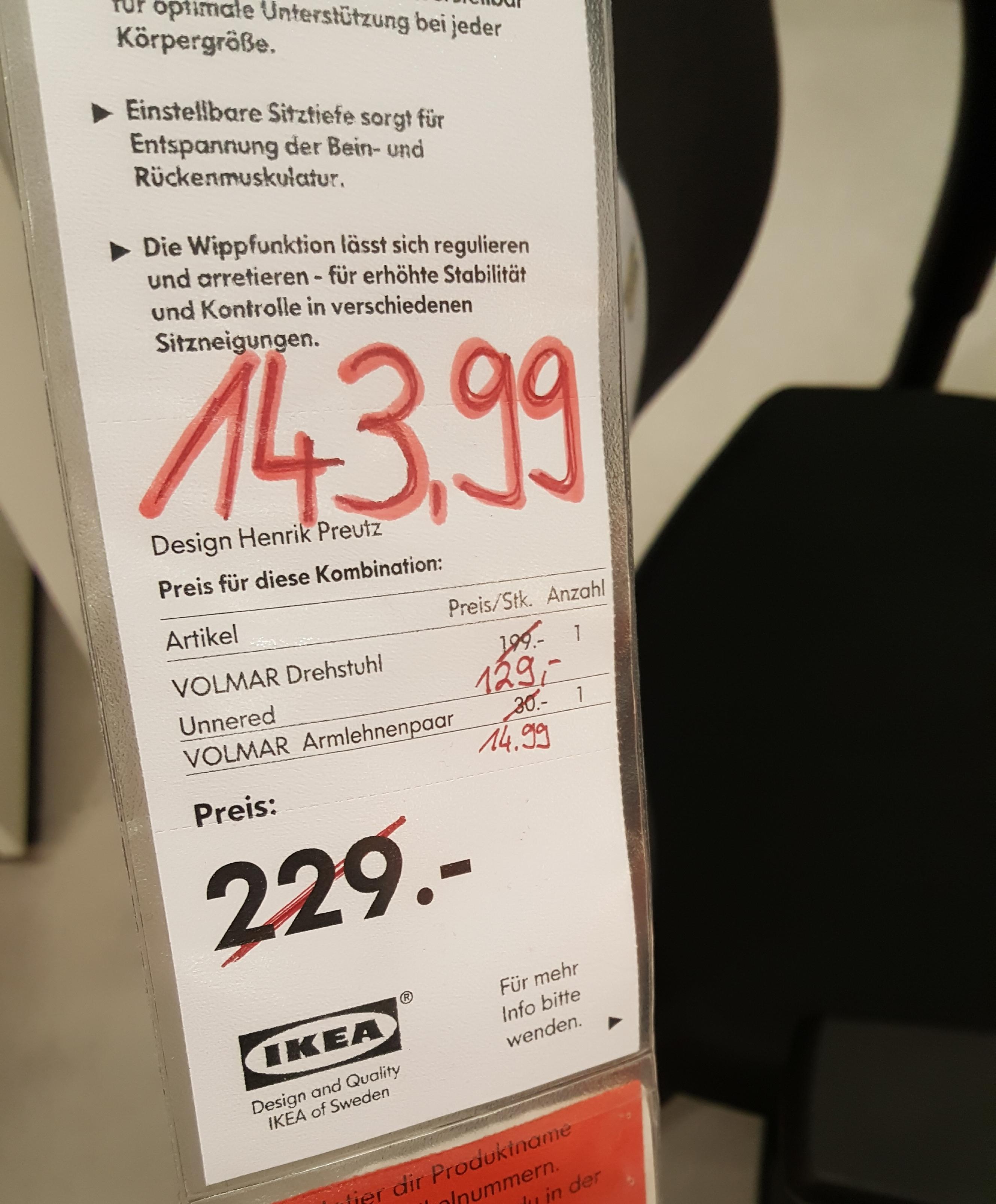 Lokal Magdeburg IKEA VOLMAR Drehstuhl Mit Oder Ohne Armlehnen Reduziert