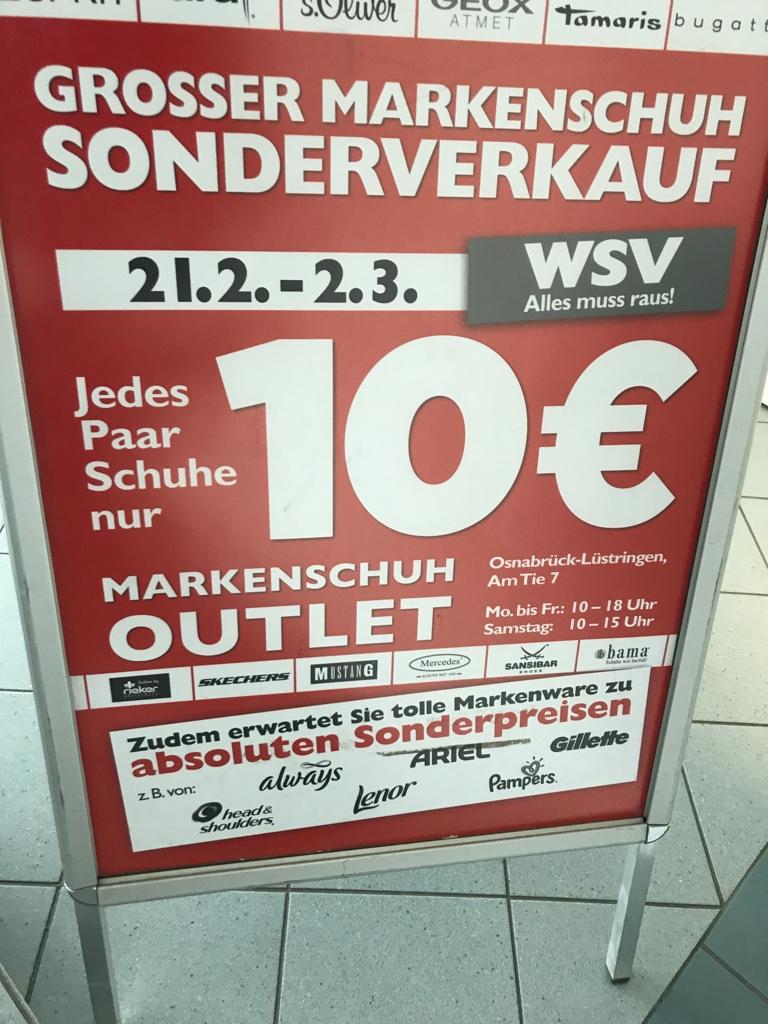 newest eeae8 cc98f Osnabrück] Markenschuh Sonderverkauf - jedes Paar Schuhe nur ...