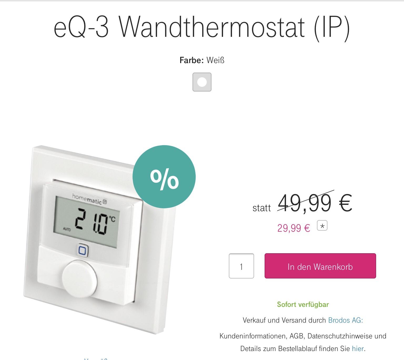Telekom Shop Online Eq 3 Wandthermostat Ip Homematic Ip Hmip