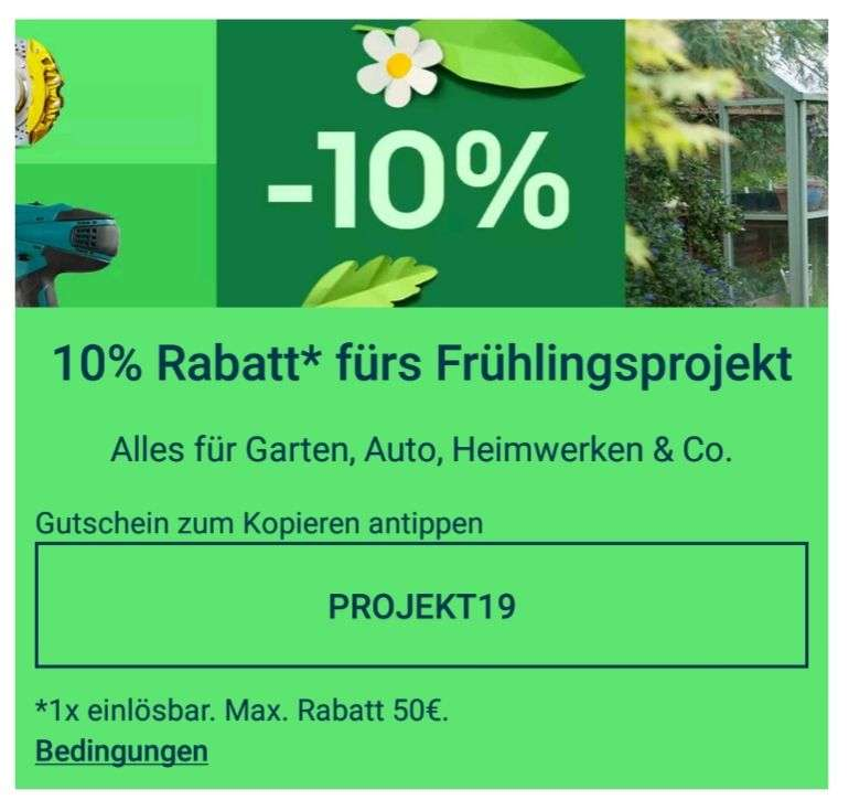 ebay deutschland 10 rabatt auf heimwerken auto garten etc. Black Bedroom Furniture Sets. Home Design Ideas