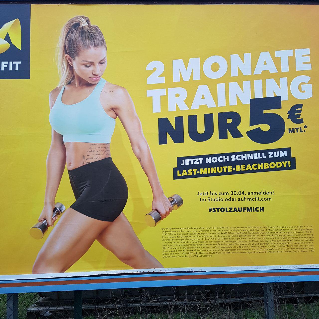 McFit Frühlingsaktion 10 € = 2 Monate Training (2x 5