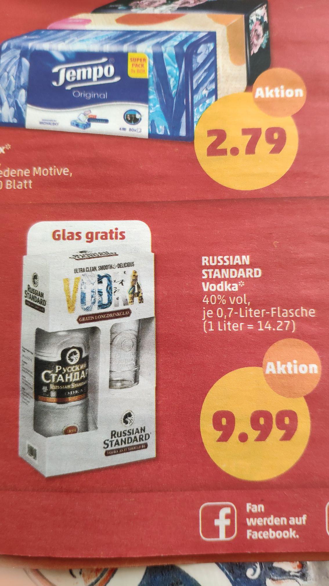 penny russian standard vodka 0 7l gratis longdrinkglas. Black Bedroom Furniture Sets. Home Design Ideas
