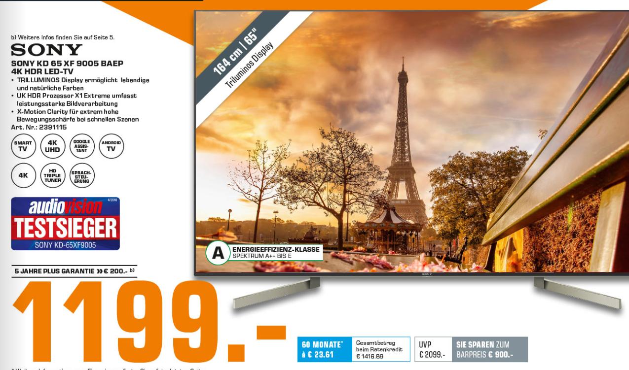 lokal saturn neuss sony kd 65xf9005 65 4k smart tv va direct led 120hz 10bit jbl. Black Bedroom Furniture Sets. Home Design Ideas
