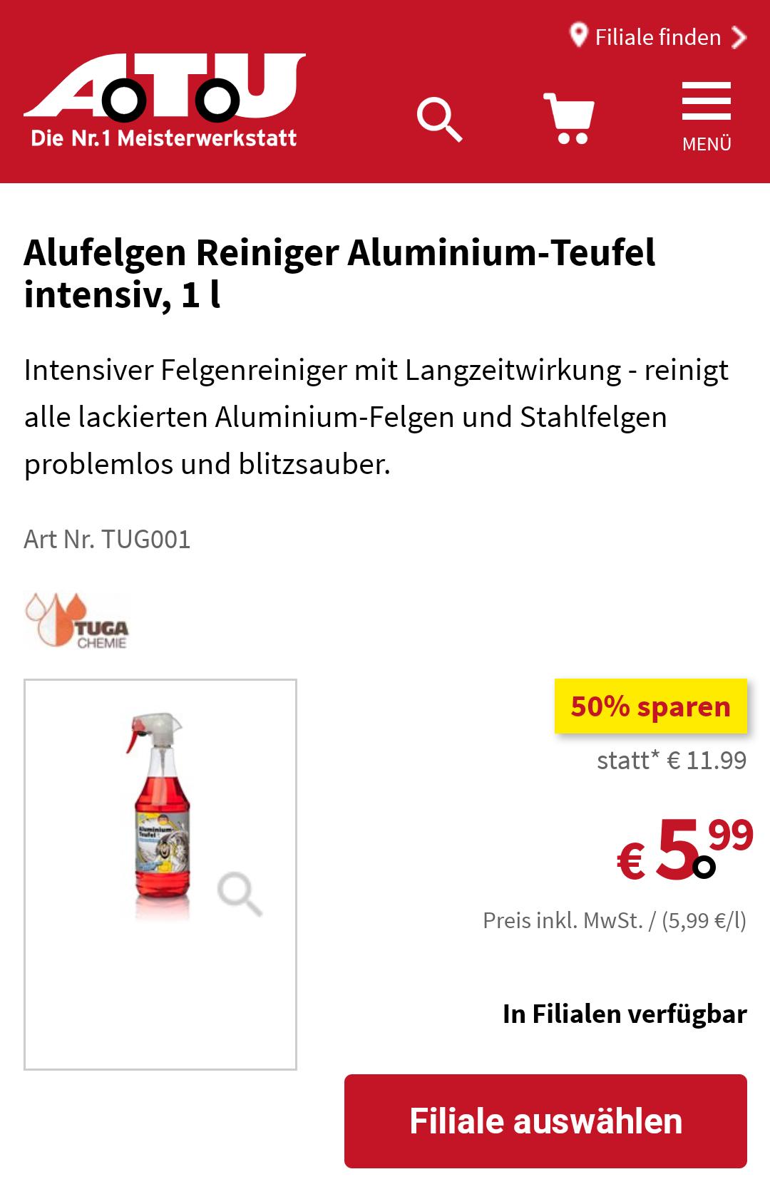 tuga chemie alu teufel rot atu filiale deutschlandweit. Black Bedroom Furniture Sets. Home Design Ideas