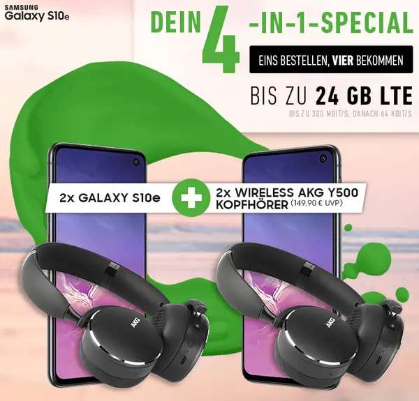 2x samsung galaxy s10e und 2x kopfh rer akg y500 im. Black Bedroom Furniture Sets. Home Design Ideas