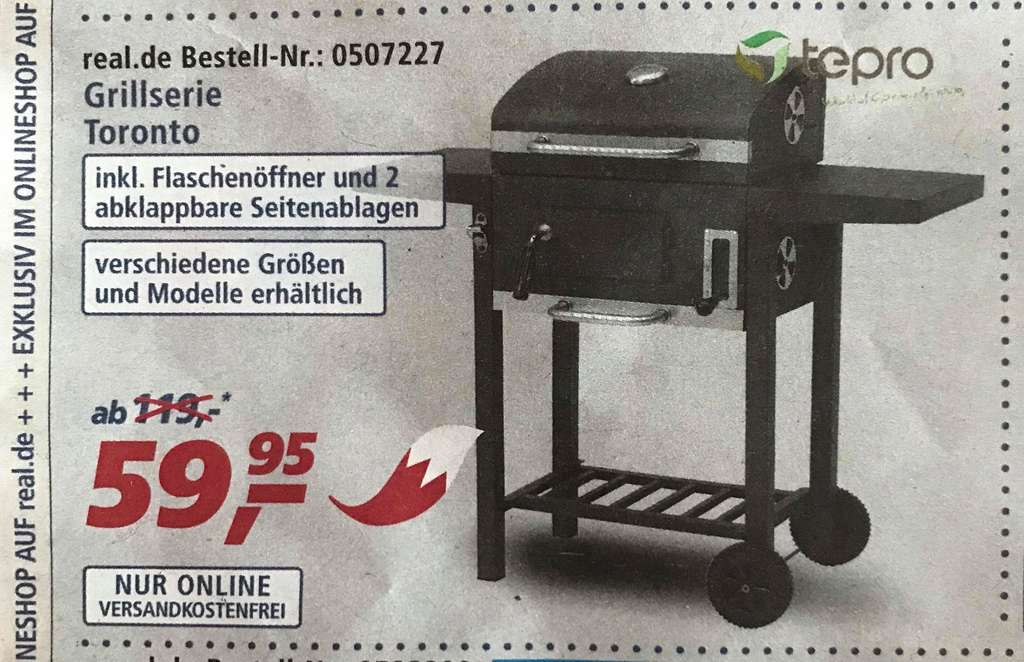 Tepro Toronto Holzkohlegrill Real : Barbeque grilltonne twins mit rosten cm real