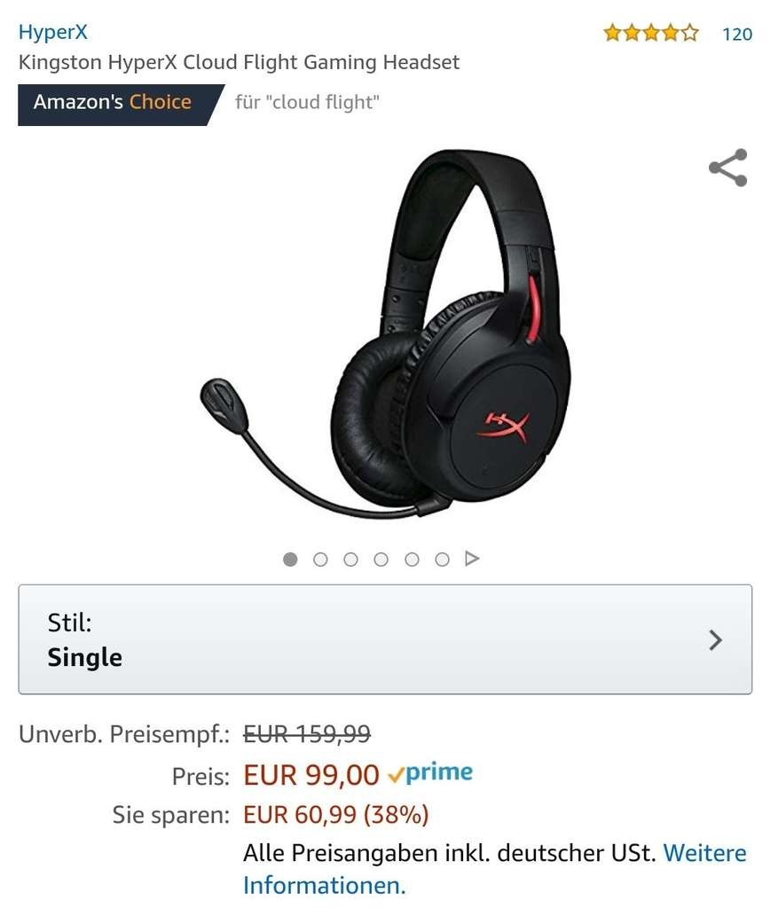 hyperx cloud flight gaming headset amazon. Black Bedroom Furniture Sets. Home Design Ideas