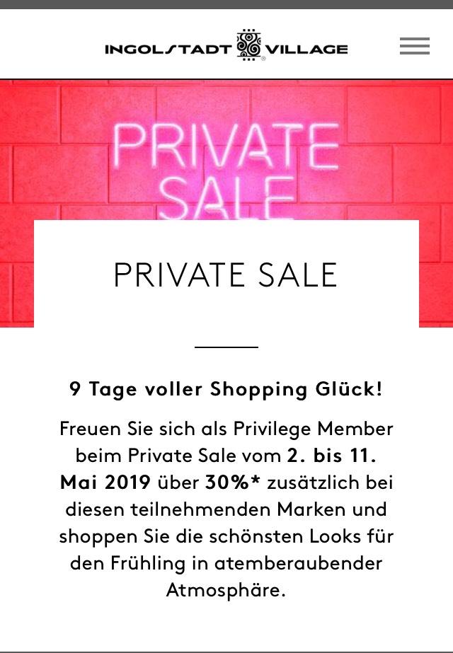 Ingolstadt Village Private Sale 020519 110519 Lokal Outlet