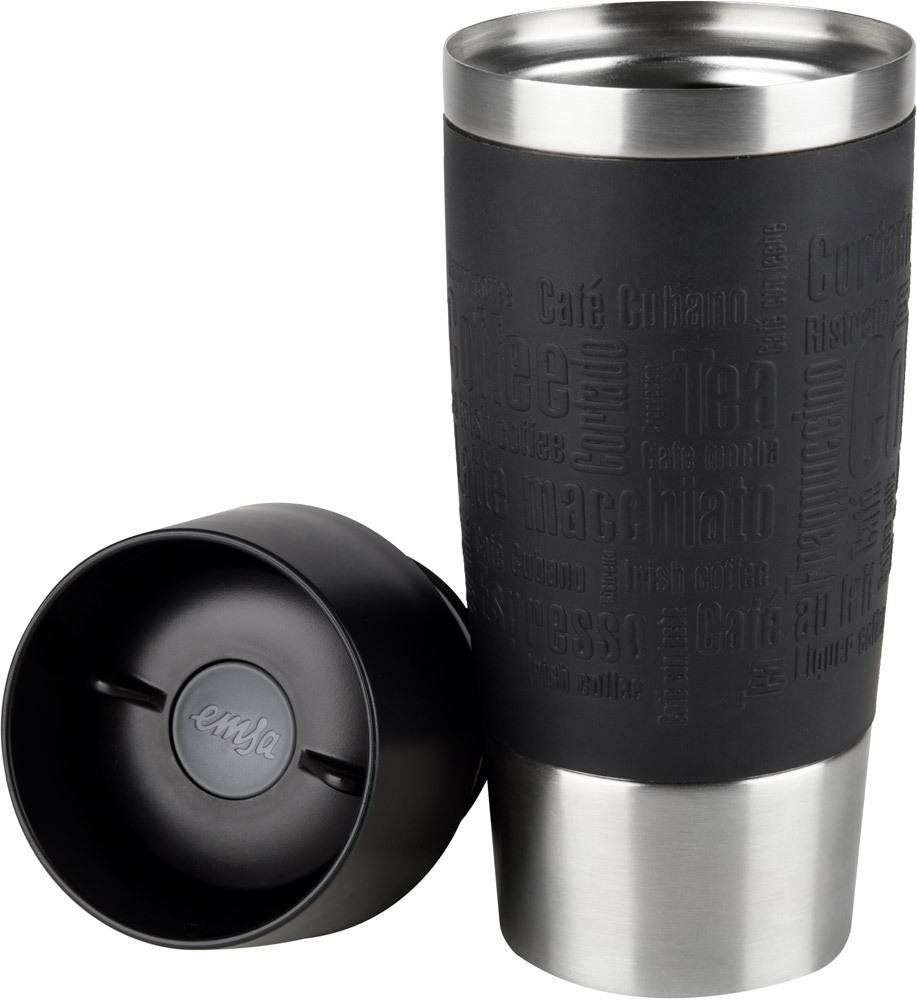 emsa travel mug 0 36l mit manschette schwarz oder. Black Bedroom Furniture Sets. Home Design Ideas