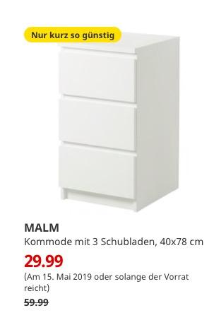 IKEA Freiburg) MALM Kommode mit 3 Schubladen weiß 40x78 cm ...