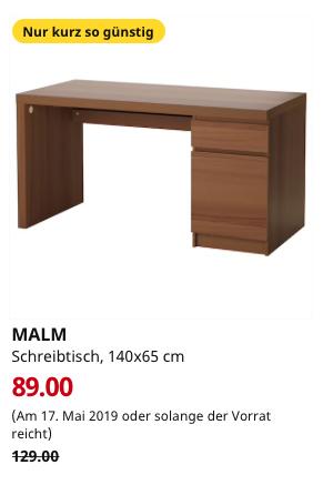 ikea brinkum malm schreibtisch braun las eschenfurnier 140x65 cm. Black Bedroom Furniture Sets. Home Design Ideas
