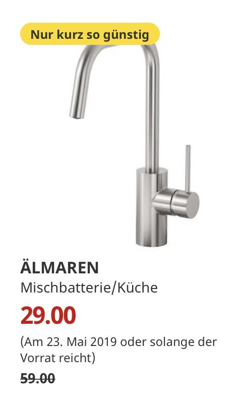 IKEA Bremerhaven 23.05.) ÄLMAREN Mischbatterie/Küche, stahlfarben ...