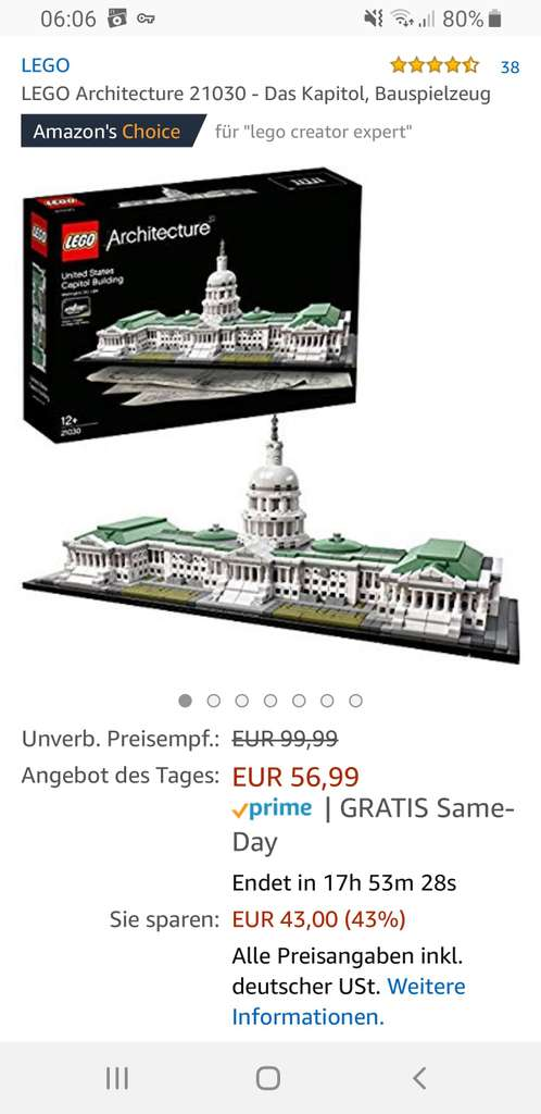 amazon angebot des tages lego 21030 kapitol. Black Bedroom Furniture Sets. Home Design Ideas