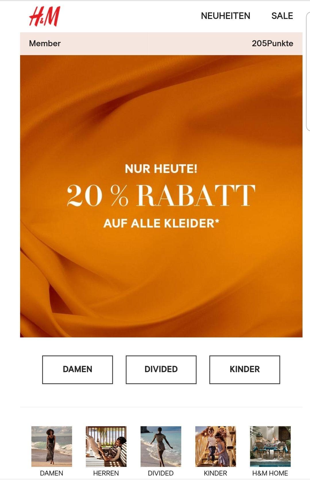 Hm Online 20 Auf Kleider Mydealzde