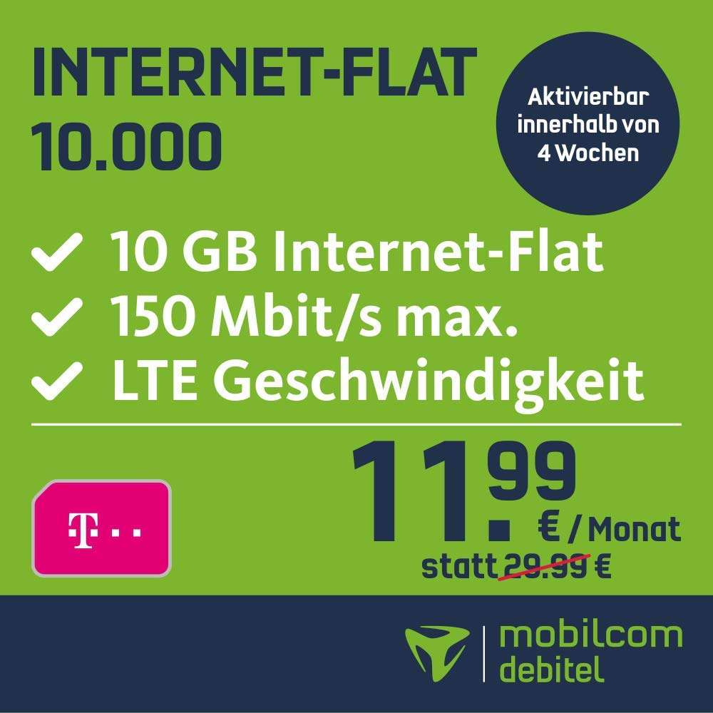 mobilcom debitel telekom datentarif 10gb lte f r mtl 11 99 auf der rechnung keine. Black Bedroom Furniture Sets. Home Design Ideas