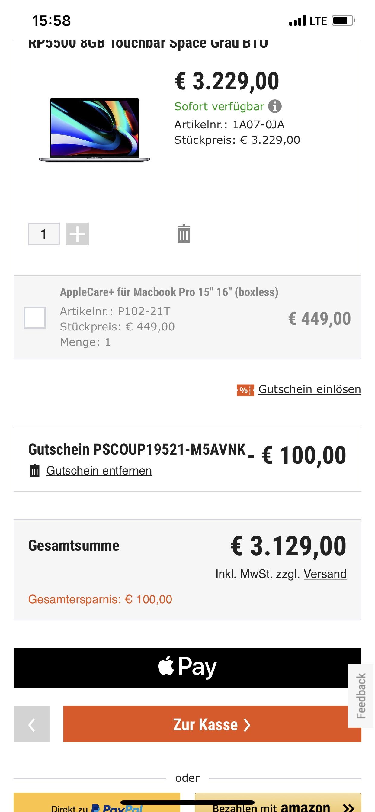 cyberport gutschein 100 euro auf macbook pro 16. Black Bedroom Furniture Sets. Home Design Ideas
