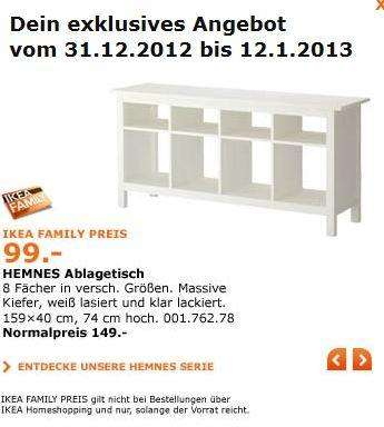 ikea hemnes ablagetisch family angebot. Black Bedroom Furniture Sets. Home Design Ideas
