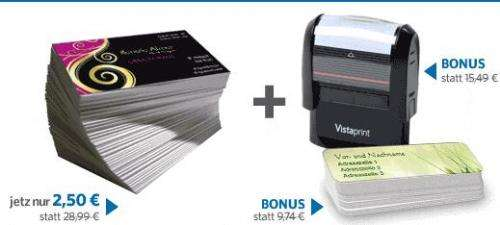 Vistaprint 250 Visitenkarten Bonus 1 Gratis Stempel Und