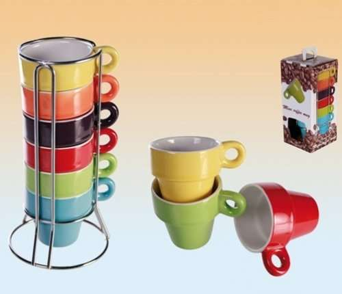 espresso set tassenset 6 tassen bunt im st nder geschenkbox ebay 1. Black Bedroom Furniture Sets. Home Design Ideas