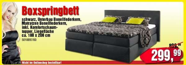 boxspringbett 180 x 200 cm runtergesetzt von 899 auf 299 bei poco. Black Bedroom Furniture Sets. Home Design Ideas