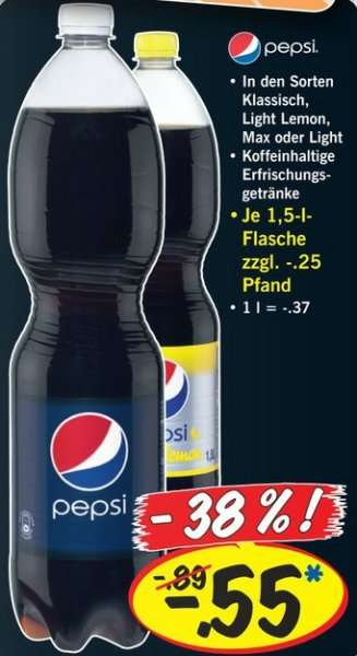 Pepsi, Pepsi Light, Pepsi Max und Pepsi Lemon @ Lidl / Do ...