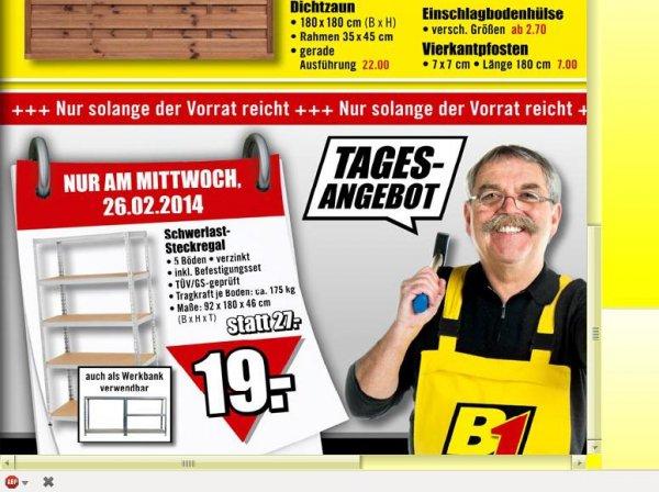 schwerlastregal bis 175kg lokal b1 baumarkt nur mittwoch. Black Bedroom Furniture Sets. Home Design Ideas