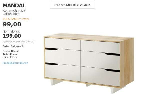 lokal ikea essen mandal kommode zum family preis. Black Bedroom Furniture Sets. Home Design Ideas