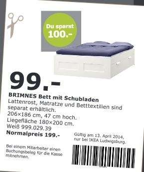 ikea ludwigsburg brimnes bett mit schubladen f r 99. Black Bedroom Furniture Sets. Home Design Ideas