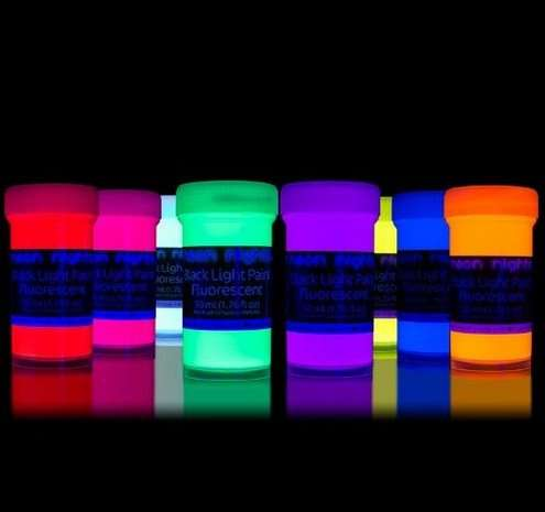 55 rabatt auf 8 x 50 ml schwarzlicht farbe neon fluoreszierende uv farbe. Black Bedroom Furniture Sets. Home Design Ideas
