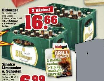 Trinkgut Bitburger Stubbi 2 Kästen 25kg Holzkohle