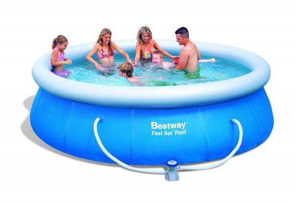 bestway fast set pool 366 x 91cm mit filterpumpe amazon. Black Bedroom Furniture Sets. Home Design Ideas