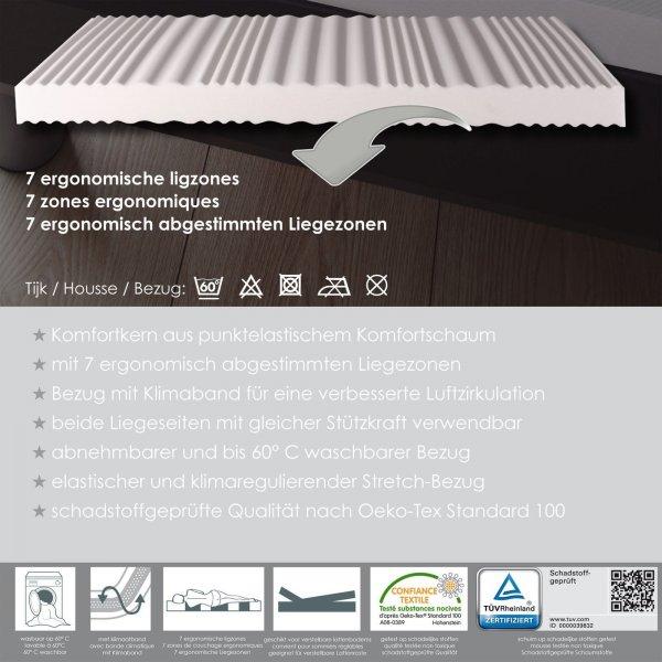 aldi 7 zonen matratze liegezonen ergonomisch abgestimmt 180 x 200 cm h he 17cm h2. Black Bedroom Furniture Sets. Home Design Ideas