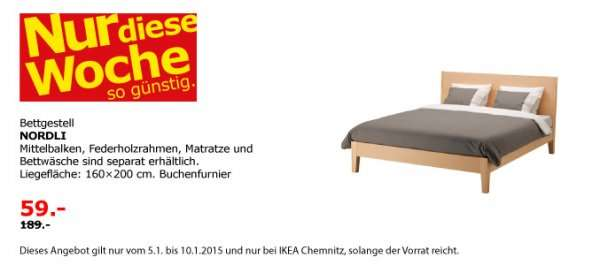 chemnitz ikea bett nordli 160x200 bis einschl morgen 59 statt 1 99. Black Bedroom Furniture Sets. Home Design Ideas