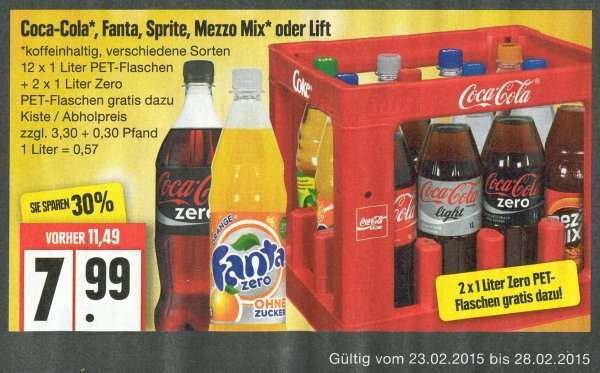 12 x 1 2 14 flaschen coca cola fanta sprite mezzo mix oder lift f r 7 99 edeka. Black Bedroom Furniture Sets. Home Design Ideas