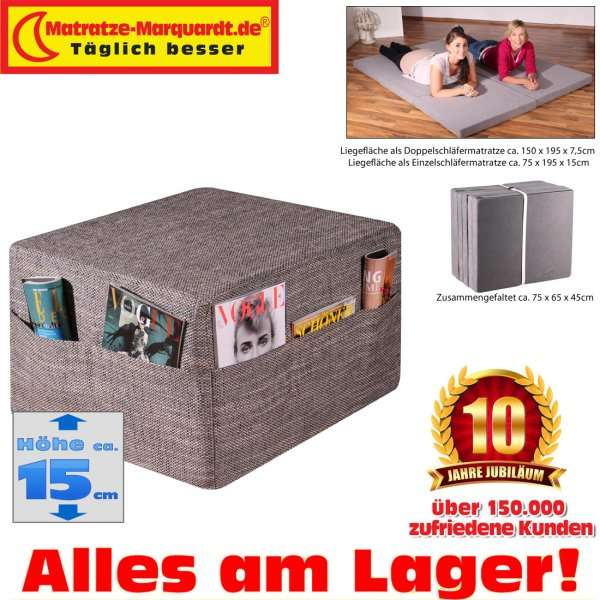g stematratze gigapur twin doppel klappmatratze liegefl che 150 x 195 cm grau mit husse in. Black Bedroom Furniture Sets. Home Design Ideas