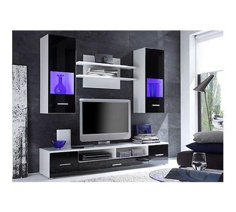 wohnwand nero in wei glas schwarz inkl beleuchtung. Black Bedroom Furniture Sets. Home Design Ideas
