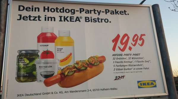ikea hot dog party paket 19 95. Black Bedroom Furniture Sets. Home Design Ideas