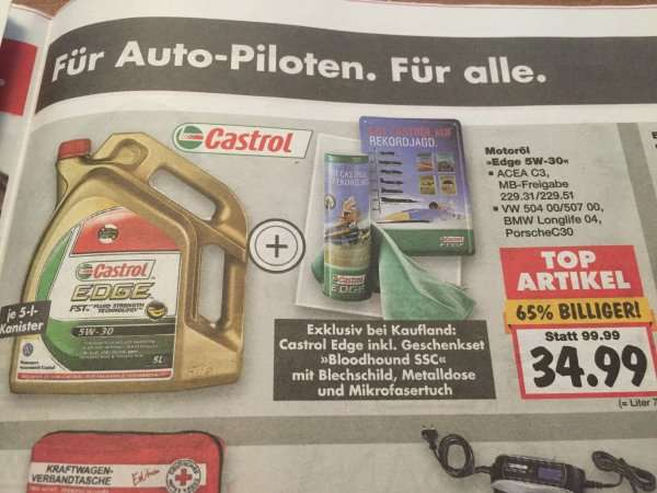 34 99 castrol motor l edge 5w 30 5l kanister gratis. Black Bedroom Furniture Sets. Home Design Ideas