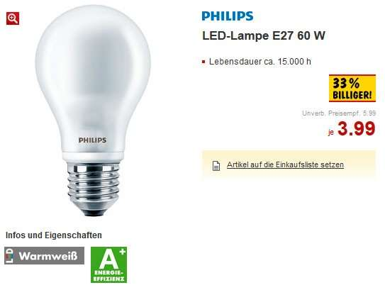kaufland bundesweit philips led e27 60w quivalent 9watt 3 99 euro. Black Bedroom Furniture Sets. Home Design Ideas