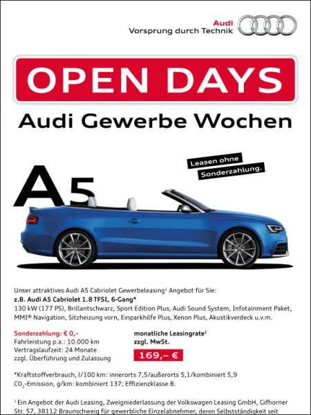 selbst ndige audi a5 cabriolet 24 monate leasing 169. Black Bedroom Furniture Sets. Home Design Ideas
