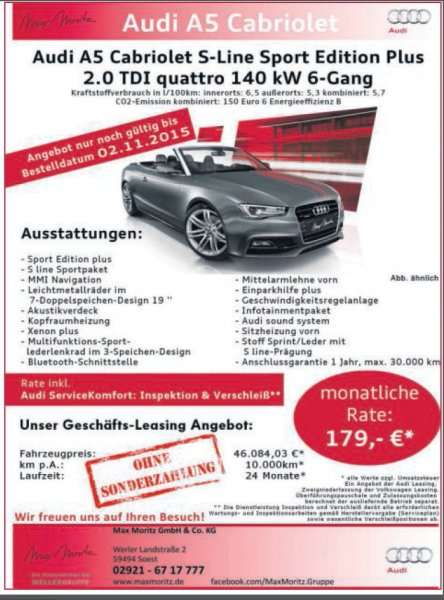 audi a5 cabriolet 2 0tdi quattro 190ps leasing nur 179 netto monatlich ohne anzahlung f r. Black Bedroom Furniture Sets. Home Design Ideas