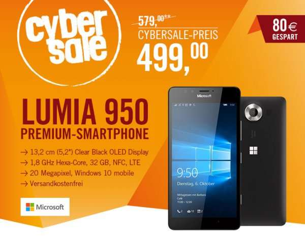 lumia 950 single sim schwarz eur 499. Black Bedroom Furniture Sets. Home Design Ideas